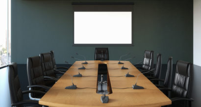 Boardroom with Blank Screen